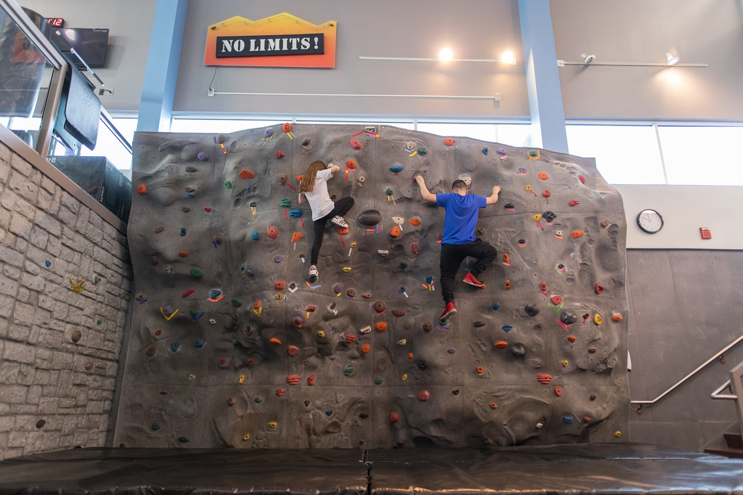 Work together or workout together on the Salem indoor Rock climbing wall